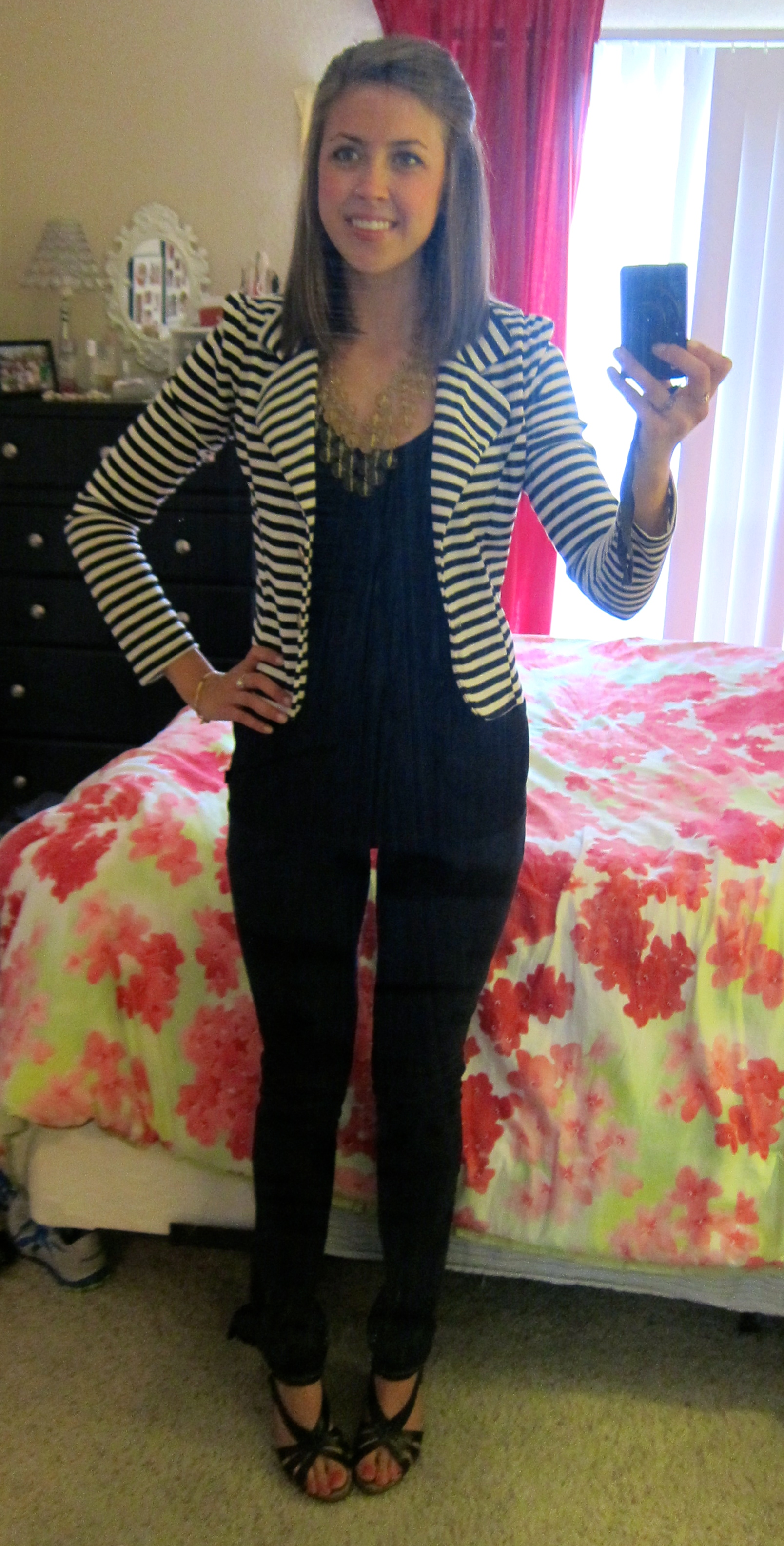 Black And White Striped Blazer Outfit Outfit 9.17.12 Striped Blazer