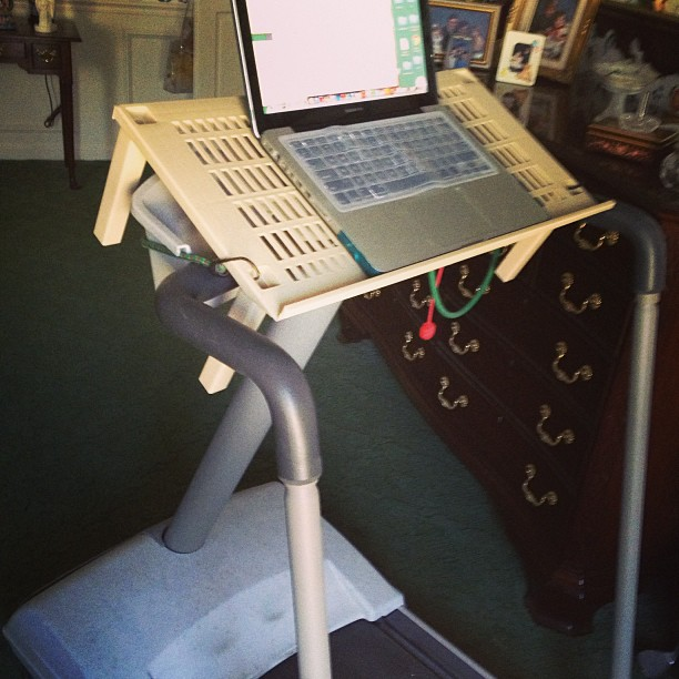 """make your own treadmill desk"""