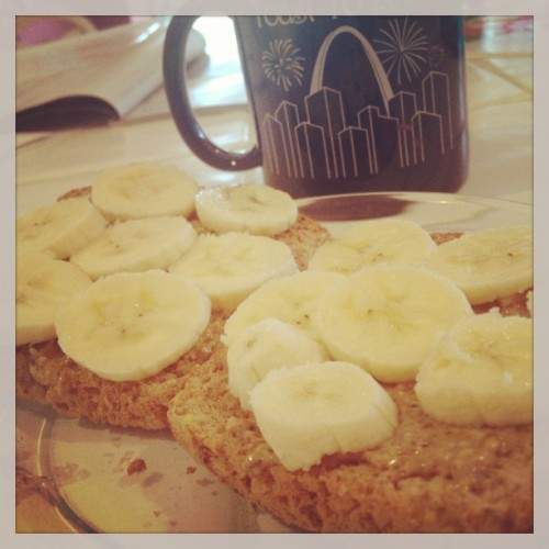 almond butter and banana toast breakfast
