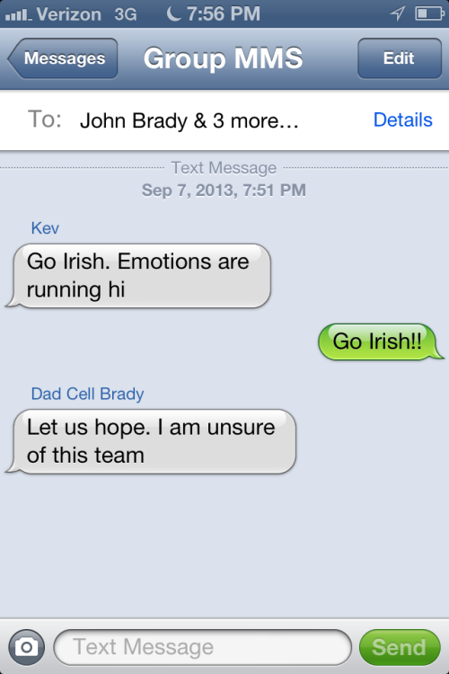 Family Text Notre Dame Football