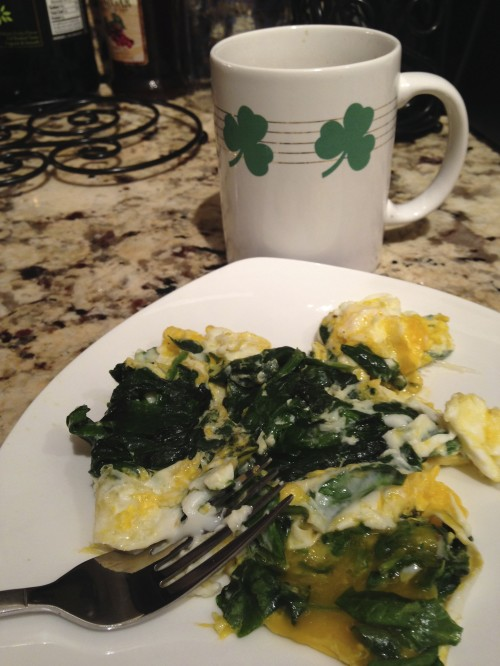Eggs in Coconut Oil with Spinach - Breakfast