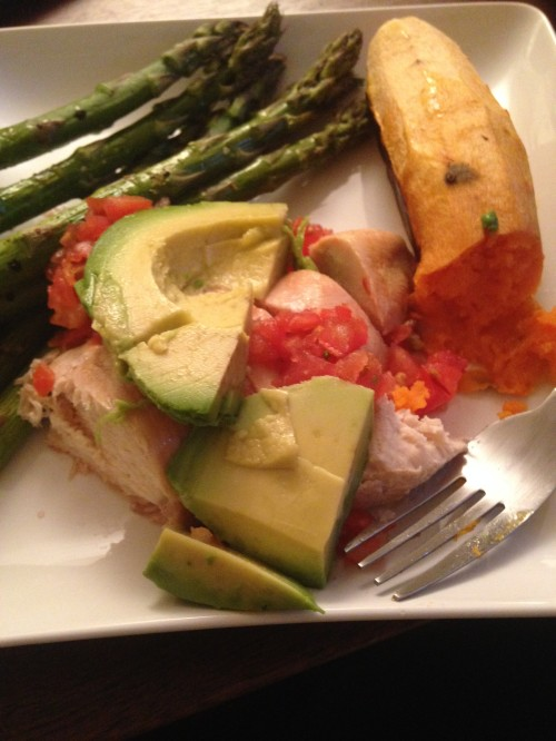 Chicken, Asparagus, Sweet Potato, Avocado Dinner