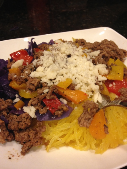 ground beef, spaghetti squash and coconut butter