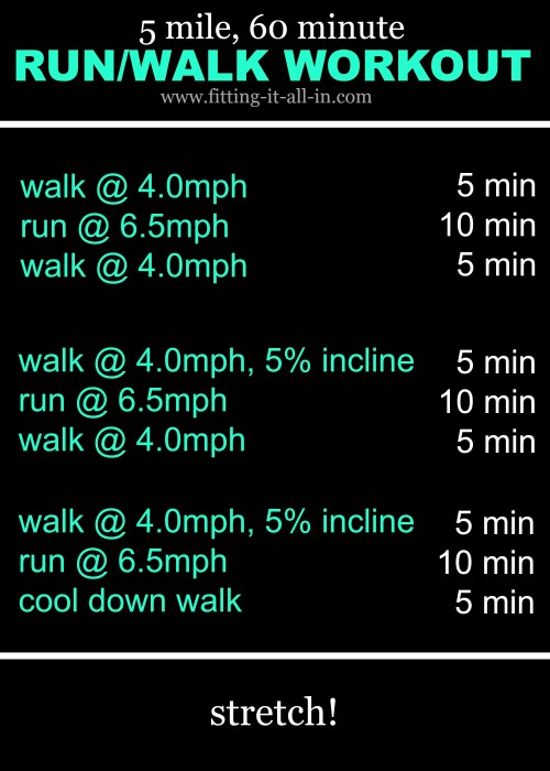 5 mile 60 minute run walk workout