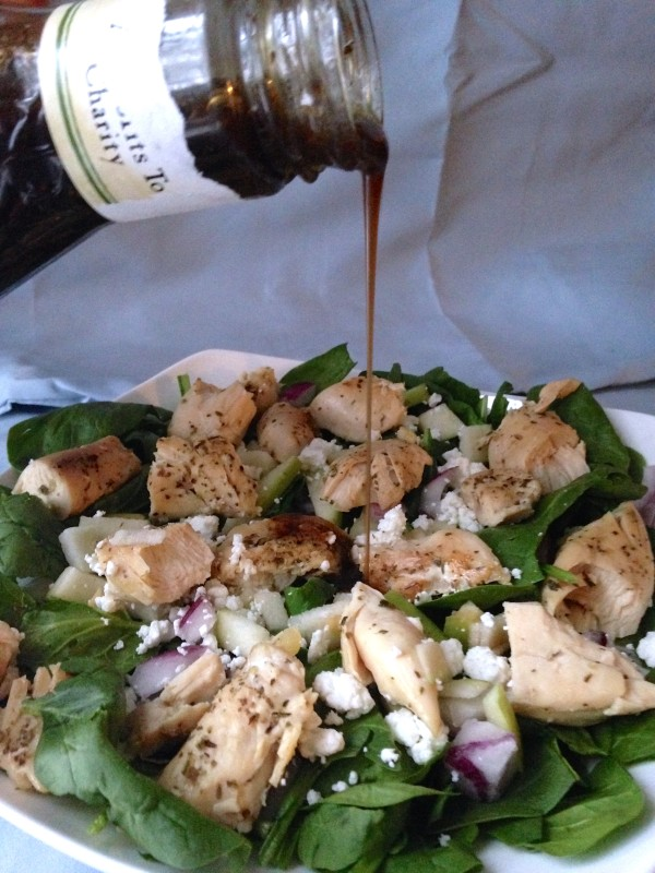 Chicken, Apple & Goat Cheese Spinach Salad