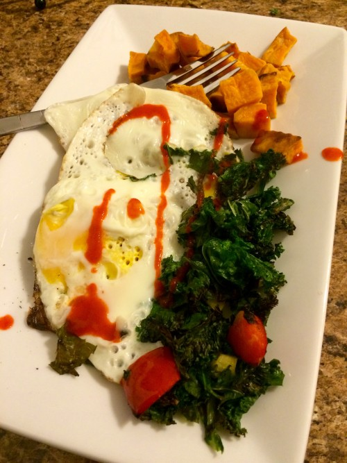 Eggs, Kale, Sweet Potato Breakfast