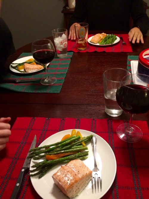 Salmon, veggies and wine dinner